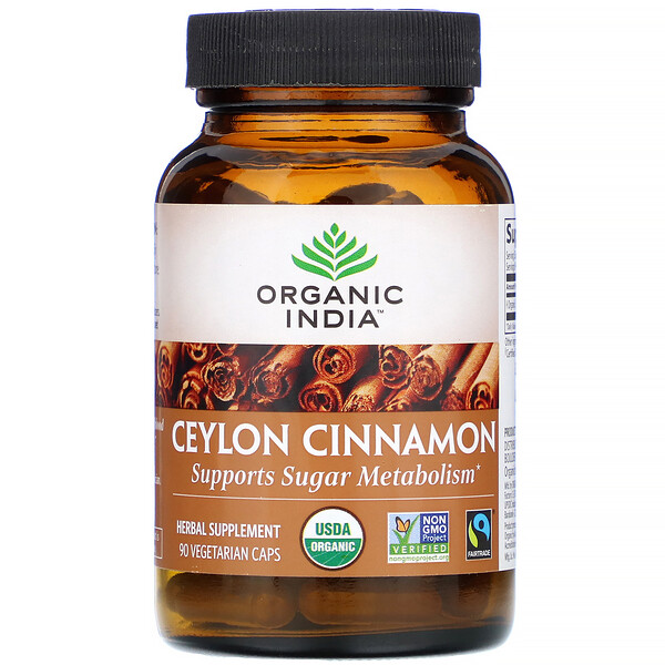 Organic India, Ceylon Cinnamon, 90 Vegetarian Caps