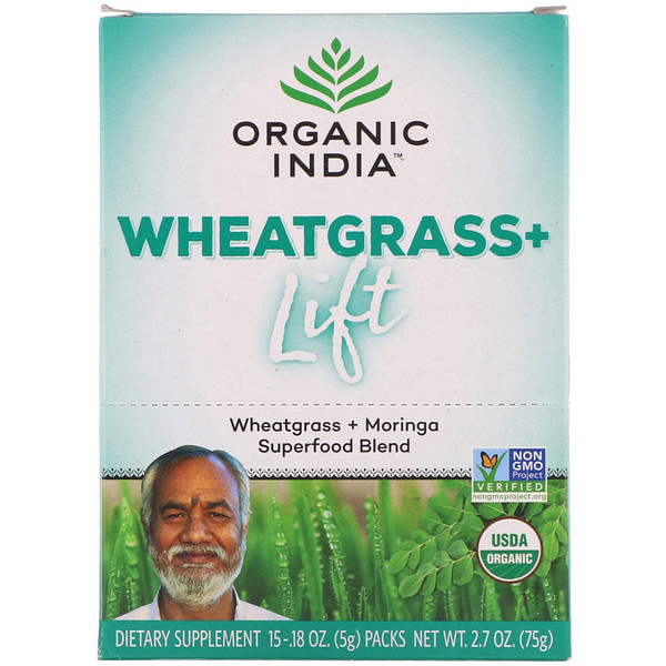 Organic India, Wheatgrass+ Lift, Superfood Blend, 15 Packs, 0.18 oz (5 g) Each (Discontinued Item)