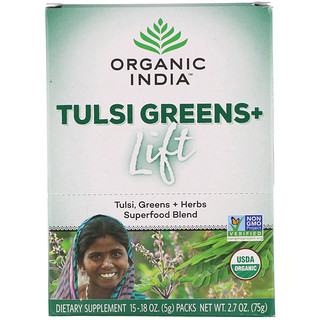 Organic India, Tulsi Greens+ Lift, Superfood Blend, 15 Packs, 0.18 oz (5 g) Each