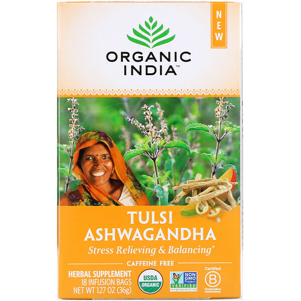 Organic India, 툴시 차, 아슈와간다, 카페인 무함유, 티백 18개입, 36g(1.27oz)