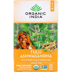 Organic India, Tulsi Ashwagandha, Caffeine-Free, 18 Infusion Bags, 1.27 oz (36 g)