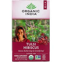 Organic India, Tulsi Hibiscus, Caffeine-Free, 18 Infusion Bags, 1.27 oz (36 g)