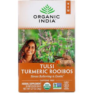 Organic India, Tulsi Turmeric Rooibos, Caffeine-Free, 18 Infusion Bags, 1.27 oz (36 g)
