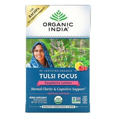 Organic India, 圖爾西茶,專注,覆盆子檸檬,18 茶袋,1.27 盎司(36 克)