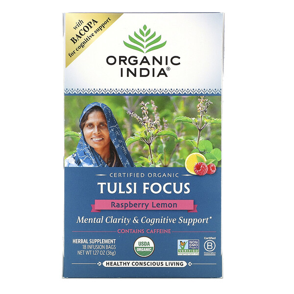 Tulsi Tea, Focus, Raspberry Lemon, 18 Infusion Bags, 1.27 oz (36 g)