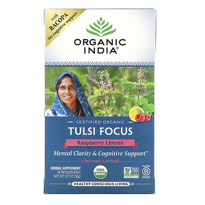 Organic India, Tulsi Tea, Focus, Raspberry Lemon, 18 Infusion Bags, 1.27 oz (36 g)'