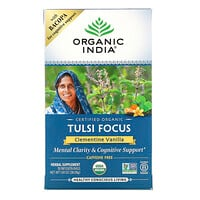 Organic India, Tulsi Tea, Focus, Clementine Vanilla, Caffeine Free, 18 Infusion Bags, 1.34 oz (38.08 g)