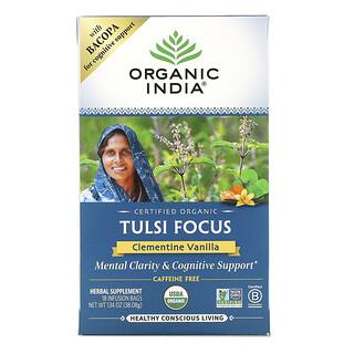 Organic India, 圖爾西茶,專注,小柑橘香草,無因,18 茶袋,1.34 盎司(38.08 克)
