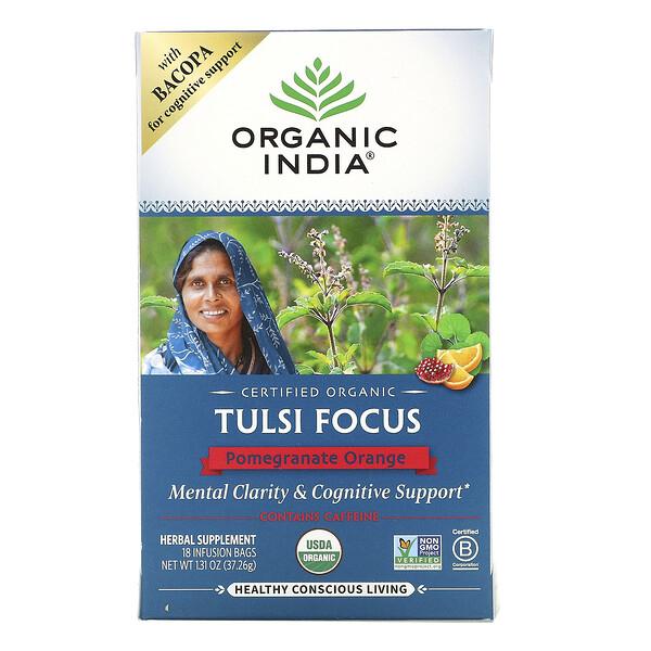 Tulsi Focus, Pomegranate Orange, 18 Infusion Bags, 1.31 oz (37.26 g)