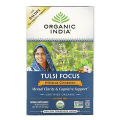 Organic India, Tulsi Focus 圖爾西假馬齒莧草本茶,木槿肉桂味,不含咖啡萃取,18 袋裝,1.27 盎司(36 克)