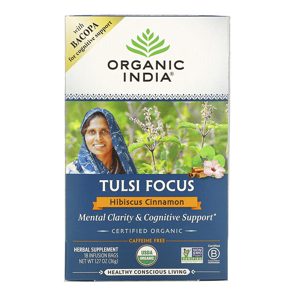Tulsi Focus with Bacopa, Hibiscus Cinnamon, Caffeine Free, 18 Infusion Bags, 1.27 oz (36 g)