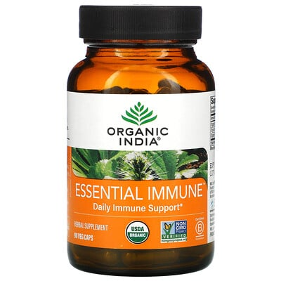 Organic India Essential Immune, Daily Immune Support, 90 Veg Caps