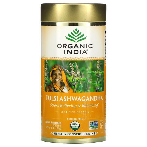 Tulsi Ashwagandha, Stress Relieving & Balancing, Loose Leaf, Caffeine Free, 3.5 oz (100 g)