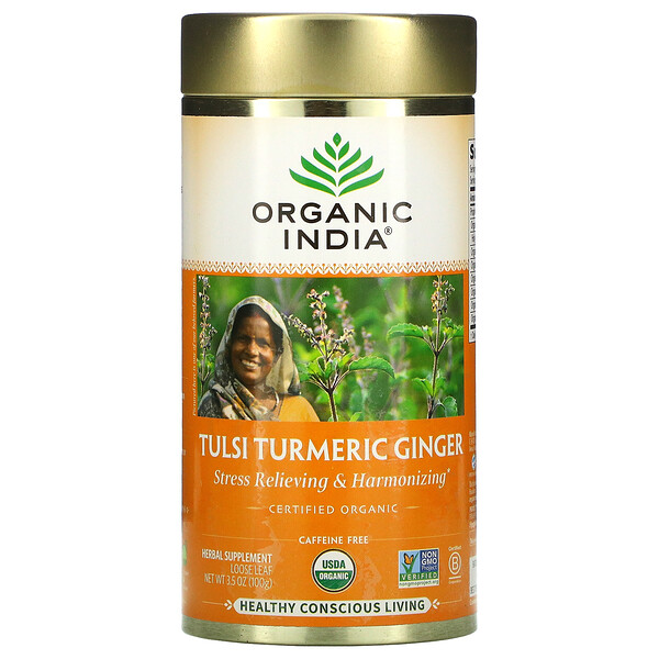 Tulsi Turmeric Ginger, Stress Relieving & Harmonizing, Loose Leaf, 3.5 oz (100 g)