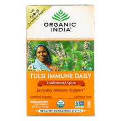 Organic India, 圖爾西日常機體抵抗配方,傳統香辛料,無咖啡萃取,18 液袋,1.27 盎司(36 克)