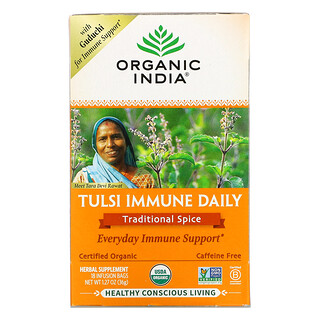 Organic India, Tulsi Immune Daily, Traditional Spice, Caffeine Free, 18 Infusion Bags, 1.27 oz (36 g)