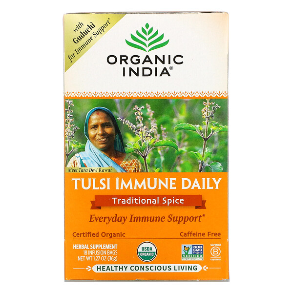 Tulsi Immune Daily, Traditional Spice, Caffeine Free, 18 Infusion Bags, 1.27 oz (36 g)