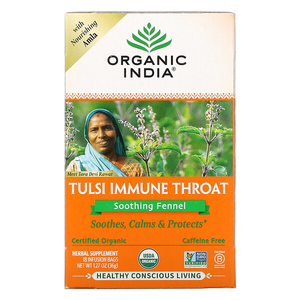 Tulsi Immune Throat, Soothing Fennel, Caffeine-Free, 18 Infusion Bags, 1.27 oz (36 g)