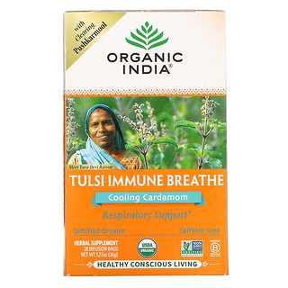 Organic India, Tulsi Immune Breathe, Cooling Cardamom, Caffeine-Free, 18 Infusion Bags, 1.27 oz (36 g)