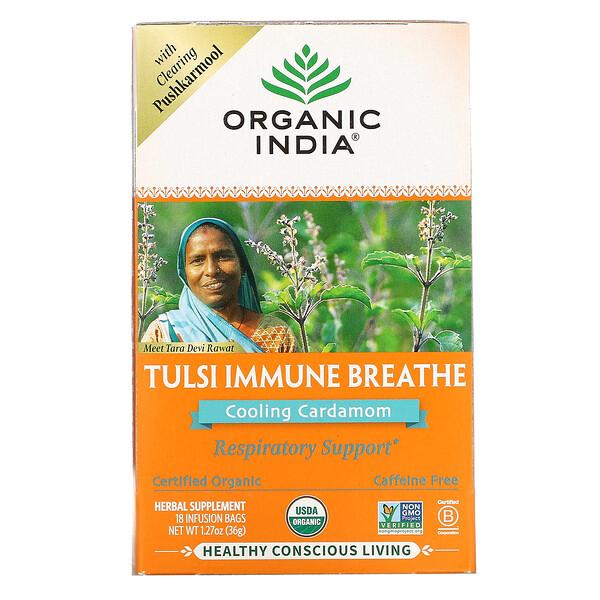 Tulsi Immune Breathe, Cooling Cardamom, Caffeine-Free, 18 Infusion Bags, 1.27 oz (36 g)