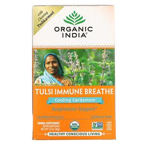 Organic India, 圖爾西機體抵抗呼吸配方,冰爽小豆蔻,無咖啡萃取,18 液袋,1.27 盎司(36 克)