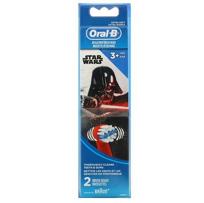 Купить Oral-B Kids, Star Wars, Replacement Brush Heads, Extra Soft, 3+ Years, 2 Brush Heads