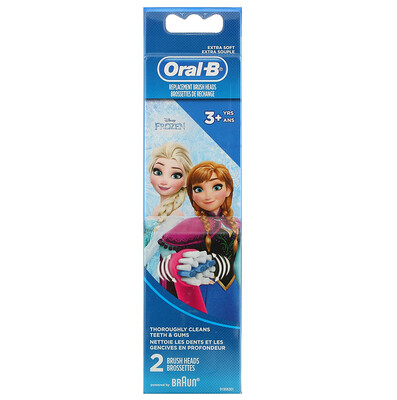 Купить Oral-B Kids, Frozen, Replacement Brush Heads, Extra Soft, 3+ Years, 2 Brush Heads