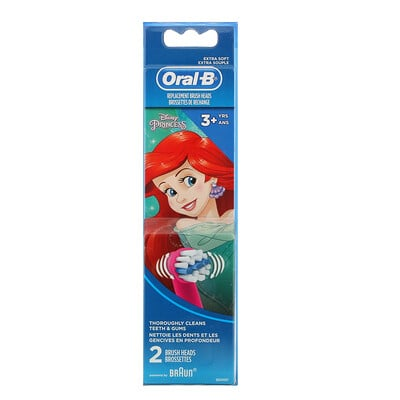 Купить Oral-B Kids, Disney Princess, Replacement Brush Heads, Extra Soft, 3+ Years, 2 Brush Heads