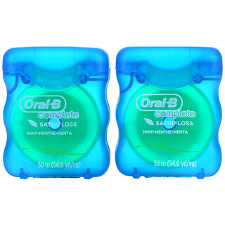 Oral-B, Complete, Satin Floss, Mint, 2 Pack, 54.6 yd (50 m) Each