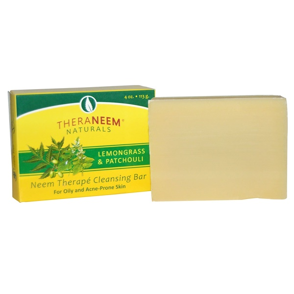 Organix South, TheraNeem Naturals, Neem Therapé Cleansing Bar, Lemongrass & Patchouli, 4 oz (113 g) (Discontinued Item)