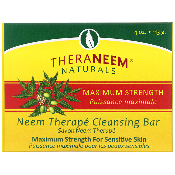 TheraNeem Naturals, Neem Therapé, Cleansing Bar, Maximum Strength, 4 oz (113 g)
