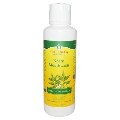 TheraNeem Organix, жидкость для полоскания рта Neem, травяная терапия мяты, 16 жидких унций (480 мл) theraneem organix кондиционер для кожи головы neem лимон и мята 12 жидких унции 360 мл