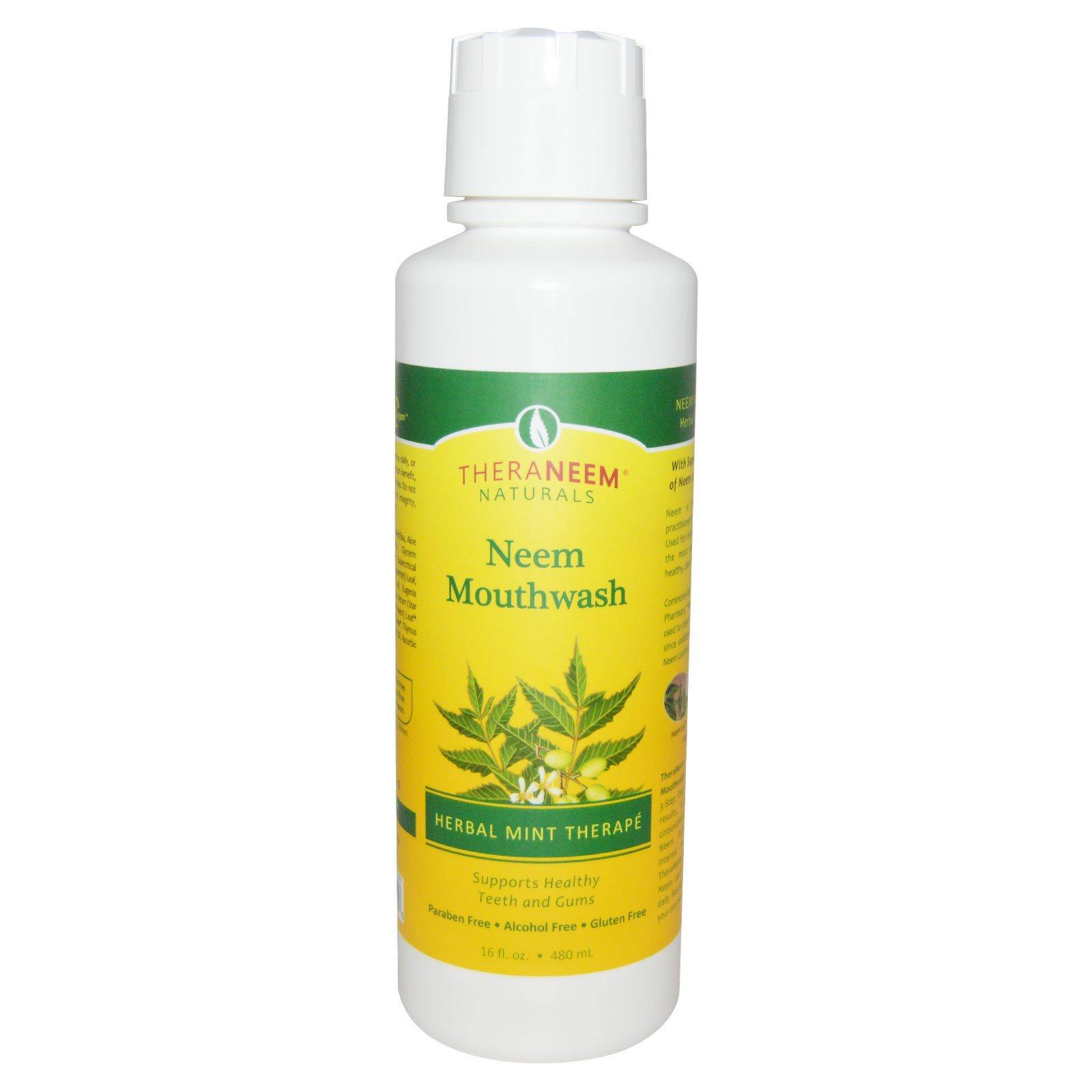Organix South, TheraNeem Organix, жидкость для полоскания рта Neem, травяная терапия мяты, 16 жидких унций (480 мл)