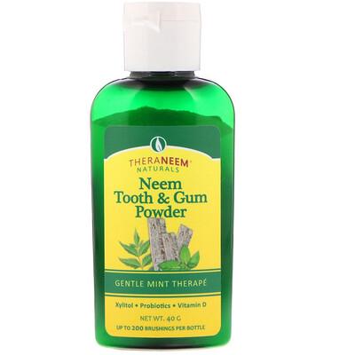 Купить Organix South TheraNeem Naturals, порошок для зубов и десен из нима, нежная мятная терапия, 40 г