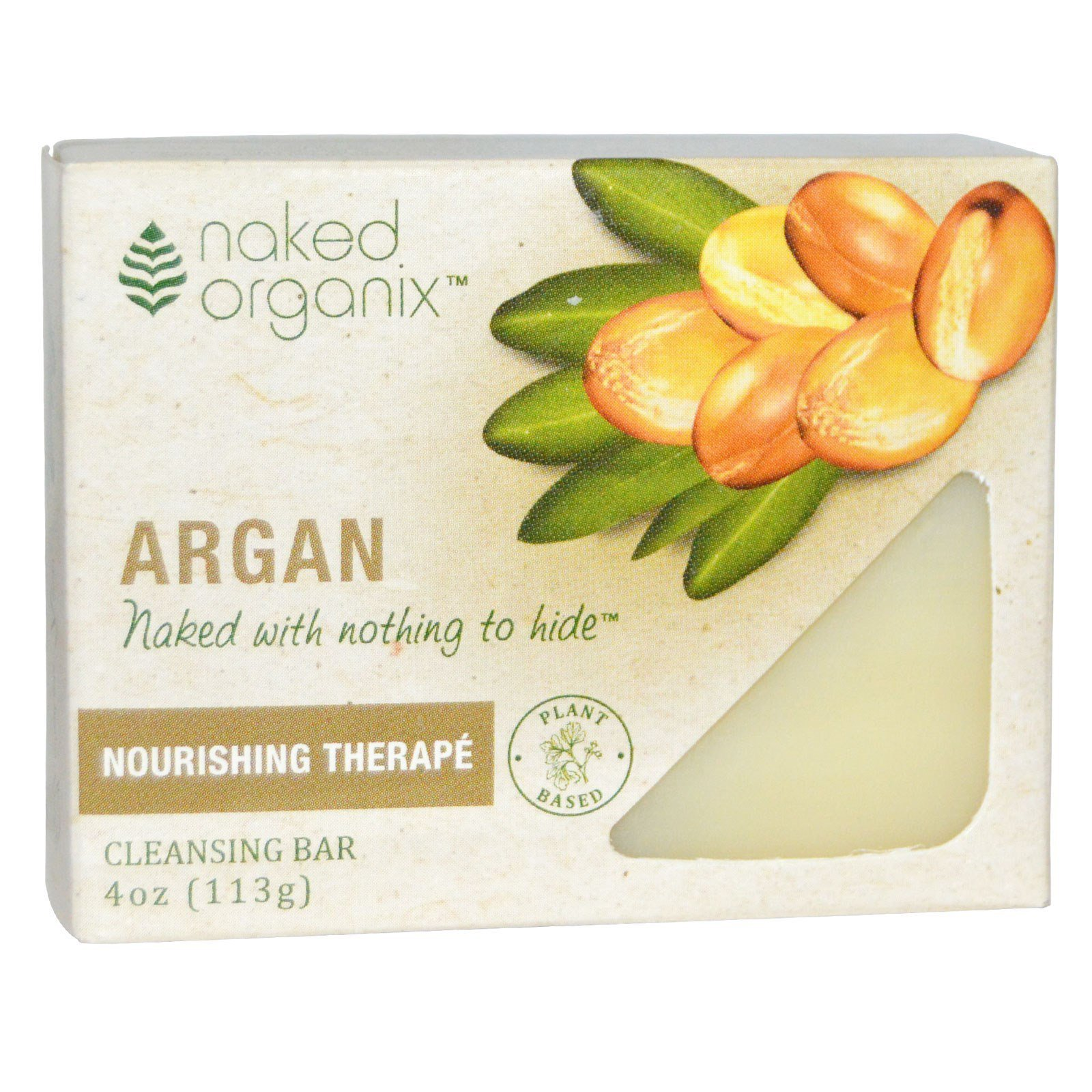 Organix South, Naked Organix, Nourishing Therapé, Argan Cleansing Bar, Fragrance Free, 4 oz (113 g)