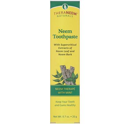 Купить TheraNeem Naturals, Лечение на основе нима с мятой, Зубная паста с нимом, 0, 7 унций (20 г)
