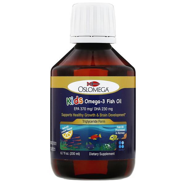 兒童專用挪威歐米伽-3 魚油,天然檸檬味,6.7 液量盎司(200 毫升)