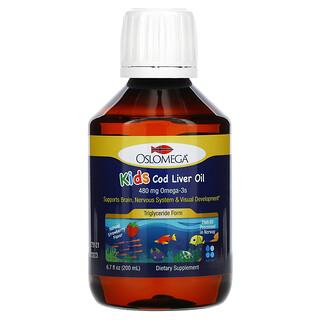 Oslomega, 兒童專用挪威鱈魚肝油,天然草莓味,480 毫克,6.7 液量盎司(200 毫升)