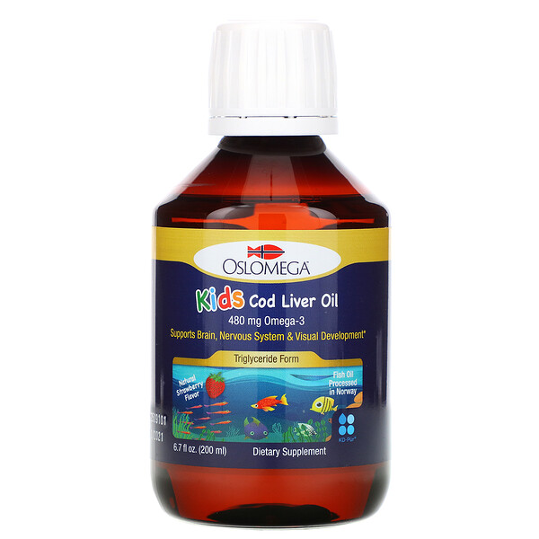 Oslomega, Norwegian Kid's Cod Liver Oil, Natural Strawberry Flavor, 480 mg, 6.7 fl oz (200 ml)