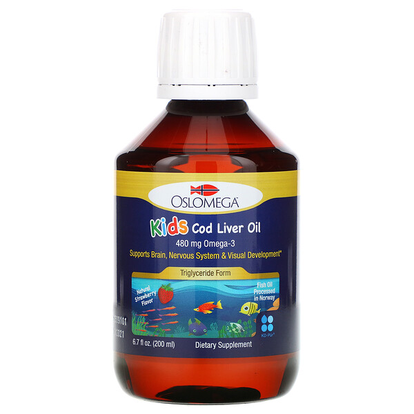 Norwegian Kid's Cod Liver Oil, Natural Strawberry Flavor, 480 mg, 6.7 fl oz (200 ml)