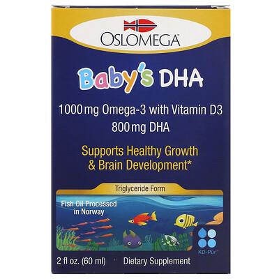 Oslomega Норвежская серия, докозагексаеновая кислота (ДГК) с витаминомD3 для детей, 60мл (2жидкиеунции)