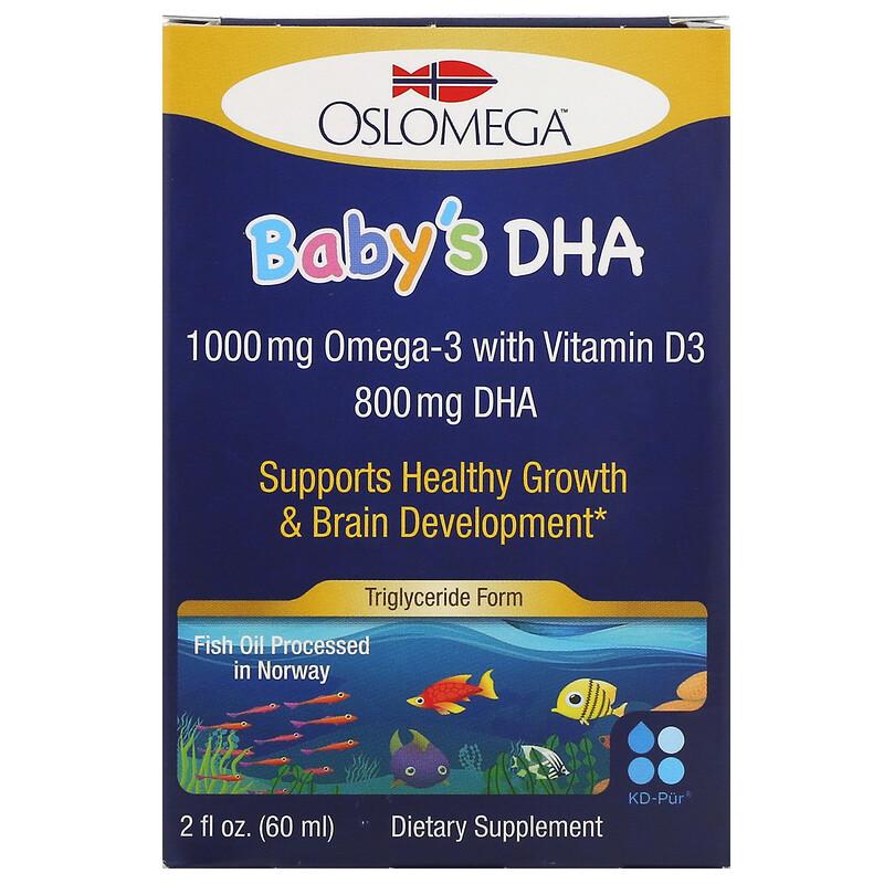 Oslomega, Norwegian Baby 嬰幼兒魚油滴劑(DHA + 維生素 D3),2 液量盎司(60 毫升)