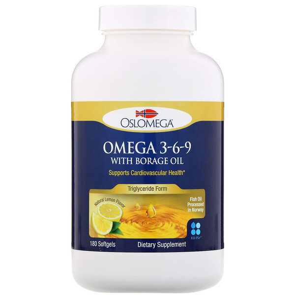 Norwegian Omega 3-6-9 with Borage Oil, Lemon Flavor, 180 Softgels