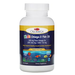 Oslomega, Norwegian Kids Omega-3 Fish Oil, Natural Strawberry Flavor, 60 Fish Gelatin Softgels