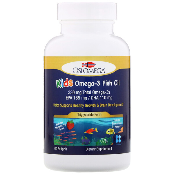 Oslomega, Norwegian Kids Omega-3 Fish Oil, 165 mg EPA, 110 mg DHA, Strawberry Flavor, 60 Softgels