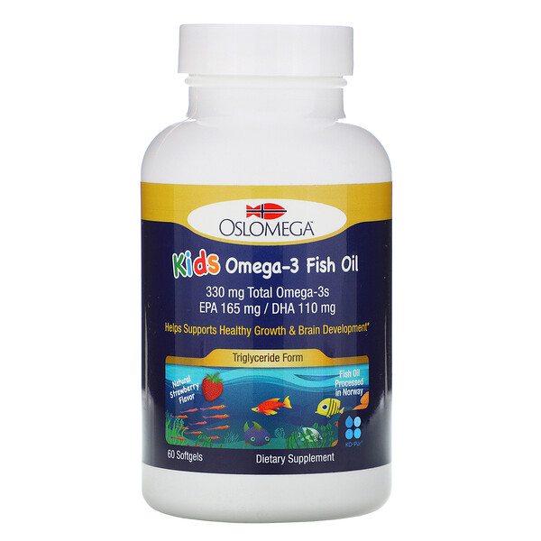 Oslomega, Norwegian Kids Omega-3 Fish Oil, Natural Strawberry Flavor, 60 Fish Gelatin Softgels