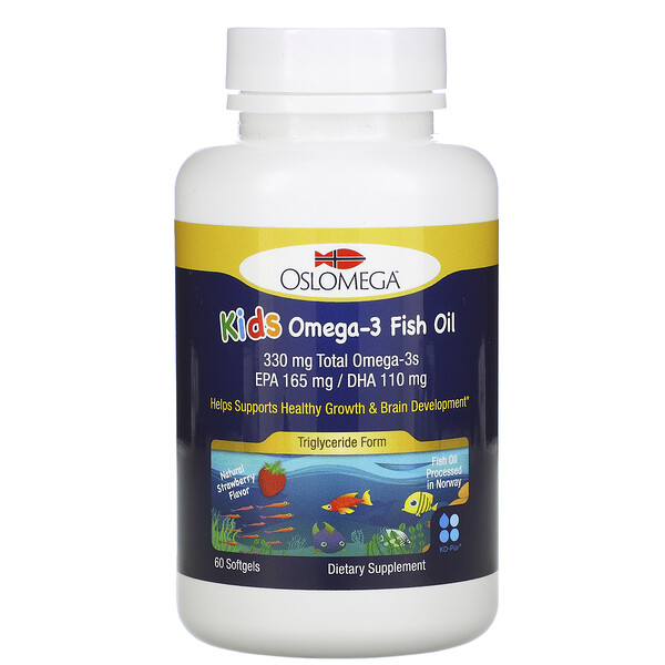 Norwegian Kids Omega-3 Fish Oil, Natural Strawberry Flavor, 60 Fish Gelatin Softgels