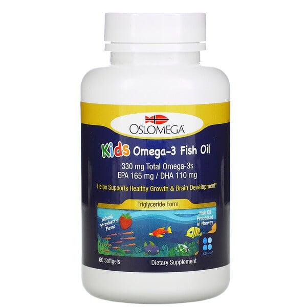 Oslomega, ノルウェー産子ども用オメガ3フィッシュオイル、天然ストロベリー風味、魚ゼラチンソフトジェル60粒