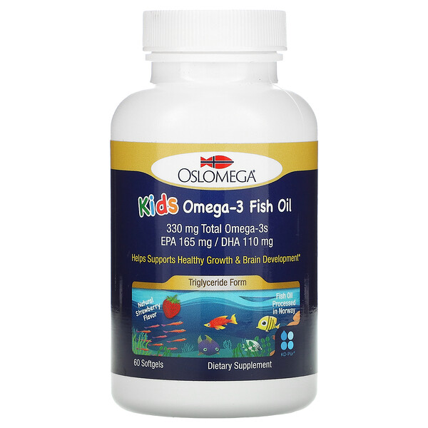 Oslomega, Kids Omega-3 Fish Oil, Natural Strawberry Flavor, 60 Fish Gelatin Softgels