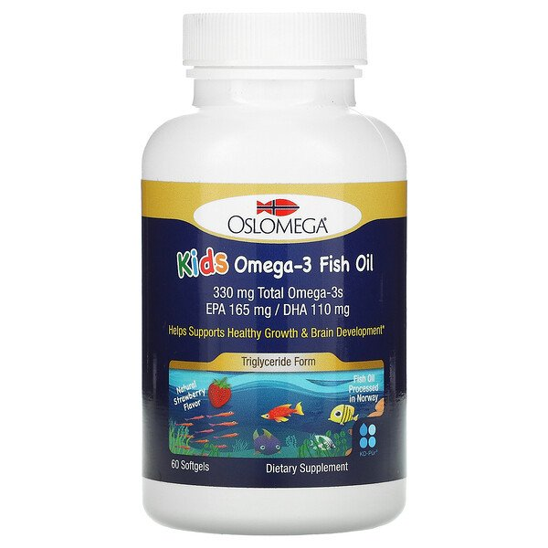 Kids Omega-3 Fish Oil, Natural Strawberry Flavor, 60 Fish Gelatin Softgels